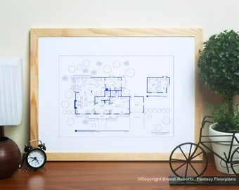 I Dream of Jeannie | House Floor Plan Poster | Gift for Architects | Major Tony Nelson's Home | NBC Today Show featured artist