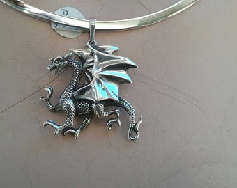 Dragon mythical pendant . sterling silver year of the dragon game of thrones