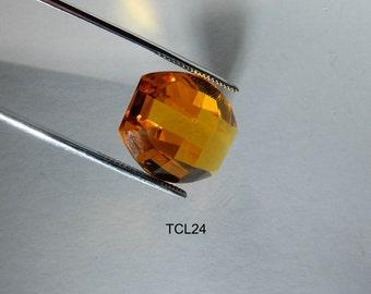 Large Glass Gem Topaz Fancy Cut 15x22 German Vintage