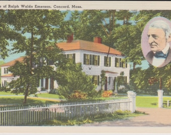 Concord, Massachusetts, Ralph Waldo Emerson, Home - Vintage Postcard - Postcard - Unused (G1)