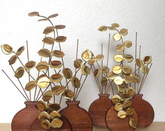 Vintage Pair of Wood and Brass Plant Wall Hanging Sculpture
