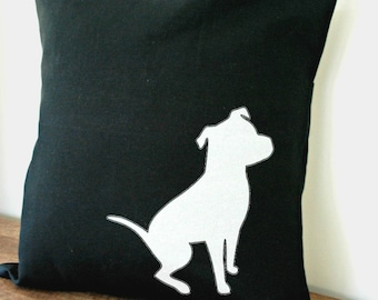 Black Pillow Cover with White Pit Bull 18x18 Inch MADE TO ORDER