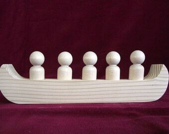 The War or Racing Canoe for 5 Peg Dolls: Unfinished Pine Canoe