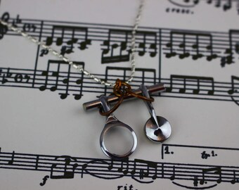 Clarinet Musical Key Pendant Vintage Instrument Necklace. Music note. Silver on Brass. Band Gift Antique