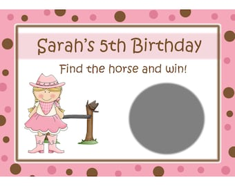 24 Pink Cowgirl Birthday Scratch Off Game Cards