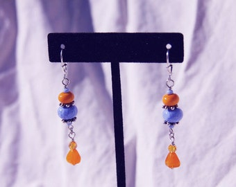 Handmade PERIWINKLE & SQUASH YeLLow EARRINGS, Sterling, Dangle, wire wrapped, leaver back, Karen Hill Tribe Silver