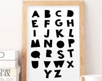 Alphabet print, Kids alphabet, Nursery alphabet, Nursery art, Childs room art, Kids wall art, Kids wall decor, Black and white, Alphabet