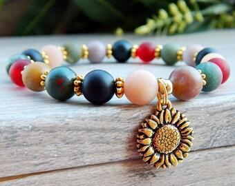Sunflower Bracelet, Nature Jewelry, Flower Bracelet, Sunflower, Agate Bracelet, Agate Jewelry, Gemstone Bracelet, Colorful Bracelet