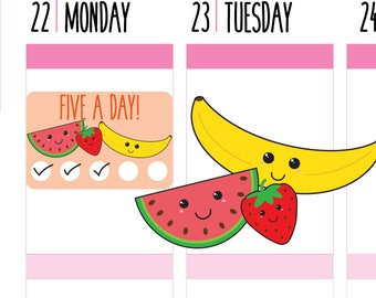 Fruit Tracker Planner Stickers, Habit Tracker, Fruit Stickers, Health Tracker, Fitness Tracker, Happy Planner Sticker, Erin Condren Stickers