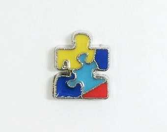 1 PC - Autism Puzzle Piece Enamel Silver Charm for Floating Locket Jewelry F0038