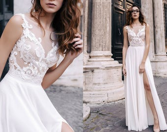 Bohemian Beach Wedding Dress V neck bridal gown MILEY