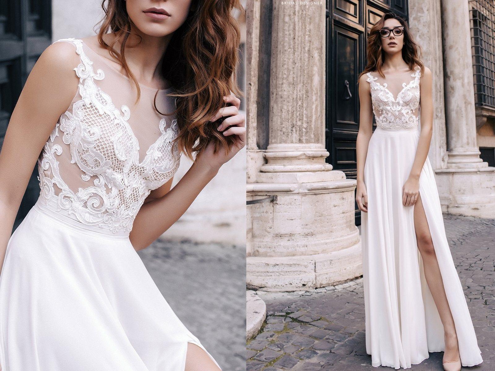 Böhmische Strand Hochzeit Kleid V Ausschnitt Brautkleid MILEY