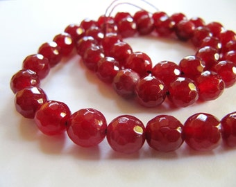 6mm JADE Beads in Cranberry Red, Faceted, Round, Full Strand, in 59 Pcs, Semi Translucent Gemstones Beads, Red Stone Beads