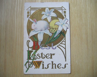 Easter, Vintage Easter Postcard, Greeting Card, Rabbit, Bunny, Paper Ephemera, Collectible, Lilies, Postcard, Scrapbooking, Antique cards