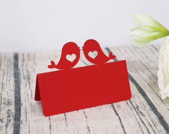 Love Birds Place Cards/laser cut  food tent cards/wedding sitting cards/ table Name cards/heart wedding place cards