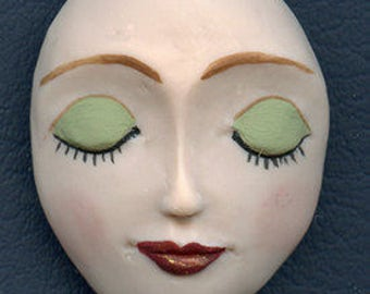 "Polymer Clay Larger 1 7/8"" x 1 1/2"" Detailed  Art Doll  Face  Cab  FLG 1"