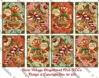 Vintage Retro Gingerbread men man cookies candy cane aqua cream pink red  Printable Digital Collage Sheet ATC Clip Art Christmas