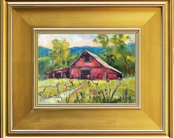 Red Barn, Tennessee Old Barn Painting, Original Oil Painting, Rural America, Landscape Painting,  Farm Painting, Framed Painting