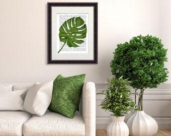 Botanical print - Monstera leaf - Swiss Cheese Plant Office wall art Monstera art print Tropical decor print Tropical leaf print Office gift