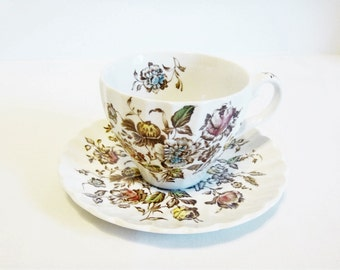 Cup and Saucer, Staffordshire Bouquet Tea Cup with Saucer, Tea Party Bone China Tea Cup, Made in England, Brown, Pink, Yellow and Blue