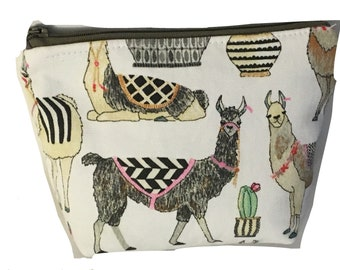 Llama Gifts- llama bag - Llama Makeup Bag - Makeup Bag - Llama Cosmetic Bag -Best Friend Gift - Cosmetic Zip Pouch - Cute makeup bag