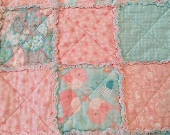 Rag Baby Quilt, Birdies & Butterflies