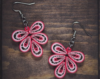 Red earrings/ Paper earrings/ Quilling earrings/ Holiday gift/ Light weight earrings/ Pretty red jewelry/ Paper jewelry/ Quilling