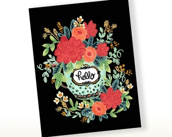 Hello Teacup Greetings, Greeting Card, Just Because Card, Hello Stationery, Floral Card, Friendship Card, Thinking Of You Card