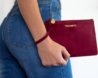 Red Suede Wristlet | Merlo Red | Suede Clutch | Leather zipper pouch | Leather Clutch | Clutch Purse | Bridesmaid Clutch | Going out bag
