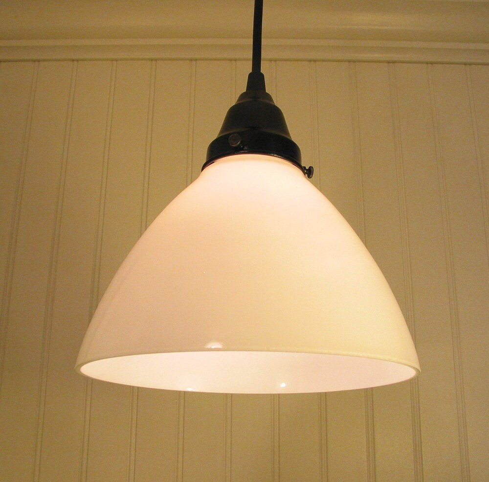 Milk Glass PENDANT Light Cone Shade by LampGoods