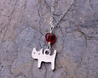 Kitty & heart necklace - matte silver plated cat charm, red heart, sterling silver chain -Free Shipping USA