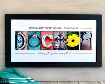 DOCTOR Medical School Graduation Gift in  Alphabet Letter Photography  Personalized Print with Name and School
