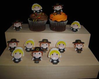 Pilgrim Cupcake Rings, Cupcake Topper, Party Favor, Thanksgiving Cupcakes, Thanksgiving Favor, Thanksgiving Cupcake Topper, Cupcake Ring