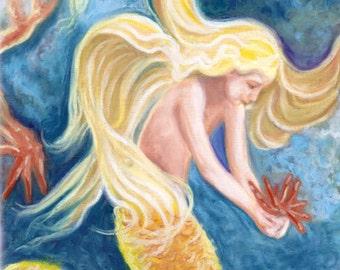 Sweet Mermaid, sea life, beach, Art Print on stretched canvas, 12x16