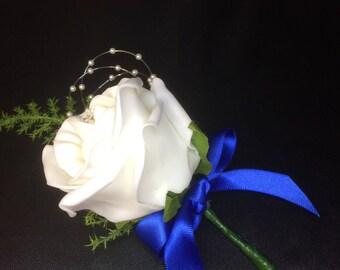 Elegant Artificial Flower Royal Blue Buttonhole