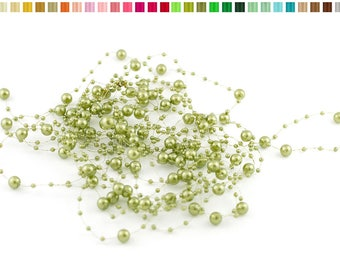 Set of 5 garlands of 1.30 resin beads m long each 563 OLIVE Green