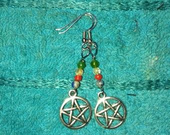 Earth,Air,Fire Water / Pentacle  earrings