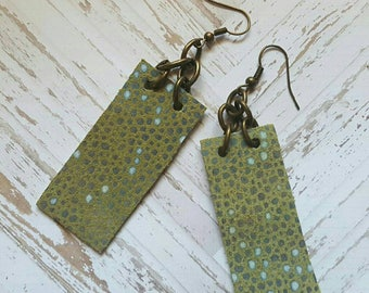 faux leather & chain earrings . green and bronze
