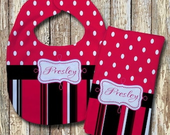 Presley Monogrammed Baby Bib with matching Burp Cloth Set (Red)