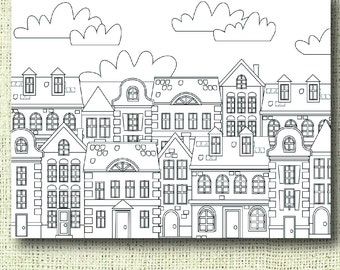 Printable Houses Coloring Page For Adults PDF JPG Instant Download Book