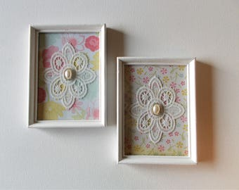 shabby chic framed lace shabby chic decor lace art shabby chic wall art - Shabby Chic Wall Decor