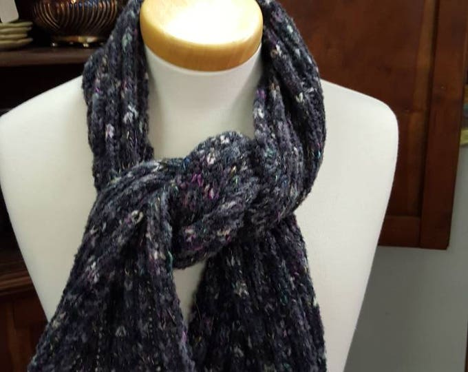 On Sale - Handmade Knitted Warm Soft Charcoal Variegated Tweed Wool Blend Scarf or Wrap Rib