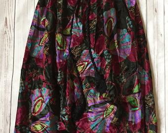 Vintage Lanvin Colorful Floral Print Black Velvet Maxi Skirt sz 10