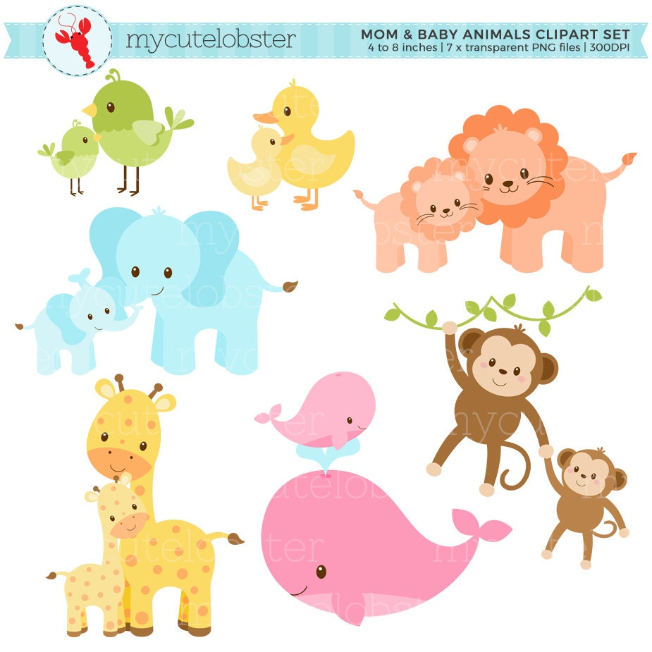pastel mom and baby animals clipart set clip art set of cute rh etsy com baby animal clip art baby shower baby animal clipart black and white