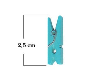 Mini clothespin with turquoise colored wooden set of 6 pieces 2, 5 cm