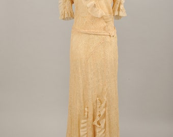 1930 Tea Stained Lace Vintage Wedding Gown