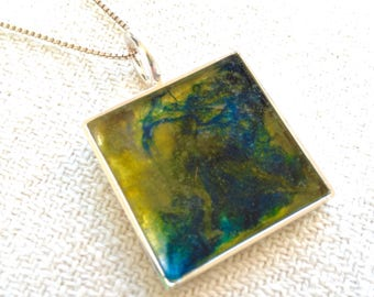 One-of-a-kind, handmade pendant, unique felted design, resin covering