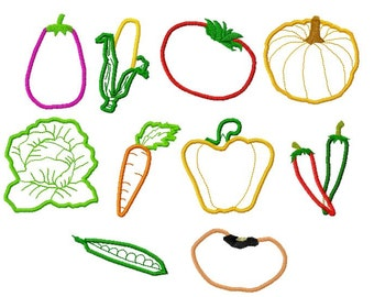 10 Designs, Vegetables Applique Machine Embroidery Design Pack, PES Format