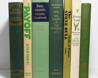 Green Books, Beige Books, Bundle of 7 Decorative Hardcover Books, 1930s to 1970s Vintage Books, Farm Journal's Country Cookbook