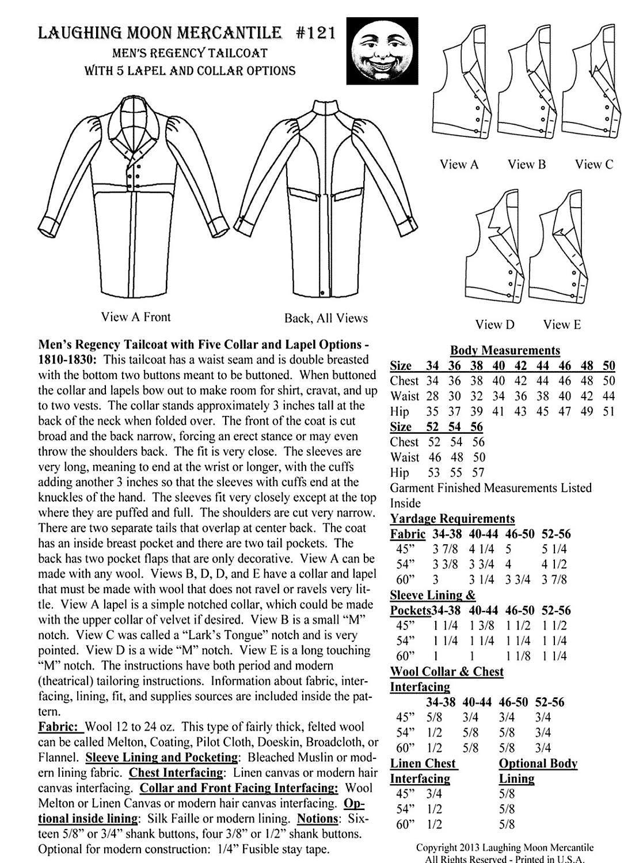 Mens regency era tailcoat sizes 34 56 laughing moon costume sewing 1795 jeuxipadfo Images